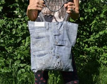 Demin Tote, Recycled Tote Bag, Big Denim tote, Blue demin bag, Denim beach bag, Large Denim Shopping bag