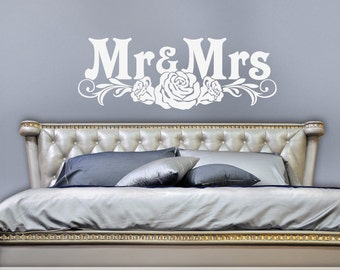 Wedding Gift for Couple, Mr Mrs Victorian Roses Bedroom Decor, White Bedroom Wall Decal, Mr Mrs Wall Decor, Removable Wall Decals (0179c15v)