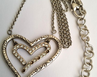 Amazing Vintage Silver Plated Double Heart Reversible Necklace
