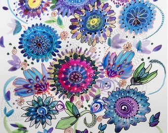 Watercolor flowers: the scattered flowers 2