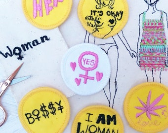 Yes to women patch craftivism handmade patch freemotion