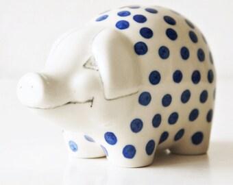 Polish pottery, Boleslawiec, piggy bank, blue dots.