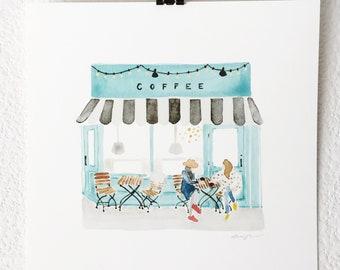 Coffee Shop - Watercolor Art Print, Illustration