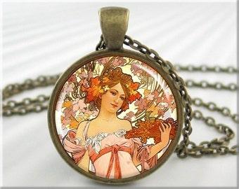 Mucha Art Pendant, Resin Pendant, Alphonse Mucha Champagne, Art Nouveau, Neoclassical Art Jewelry, Round Bronze, Classic Art Gift(212RB)