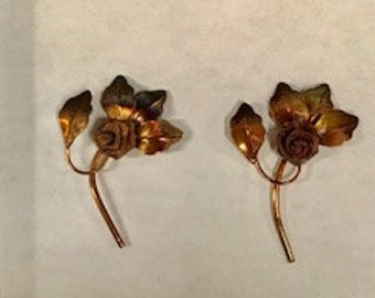 6pcs Vintage Copper Mesh rose with leaves