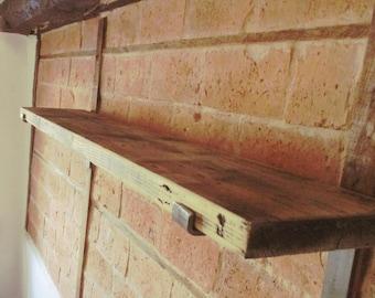 Scaffold Board Shelf, Rustic, Wooden shelf, Shelving, Reclaimed Wood Shelves, Industrial, Scaffold Boards, Metal Brackets, Rustic Handmade