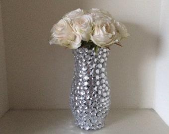 Glass Bud Vase with Rhinestones