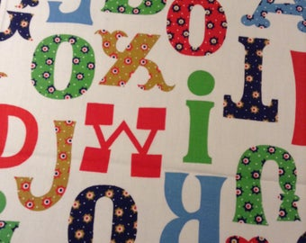 Vintage Alphabet Quilting fabric, Yard, Calico letters Quilt fabric
