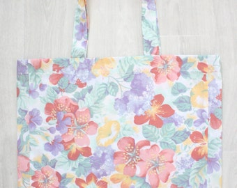 Zero waste tote bag | upcycled fabric | reusable fabric | Sustainable | Large Floral tote bag