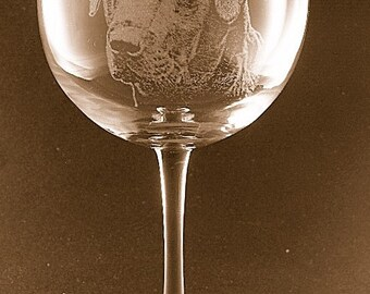 Etched Black Labrador Retriever on Elegant Wine Glass (set of 2)