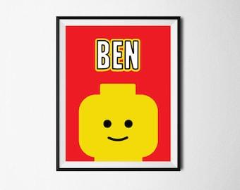Kids Print, Boys Name Wall Art, Building Bricks Wall Art, Building Brick Prints, Boys Room Decor, Digital Download