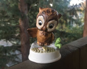 "Owl with Inch Worm, Bone China Bird Figurine, Vintage Small Brown Owl, 3"" Height"