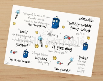 10th Doctor Quotes Large Glossy Stickers / SQ212