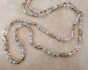 """Handknotted Long Bead Necklace - Crystal Layering Necklace """"Minuet in G"""" - Item 1583"""