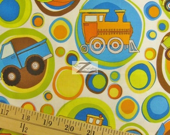 "Transportation On The Go White By Riley Blake 100% Cotton Fabric - 45"" Width Sold By The Yard (FH-397)"