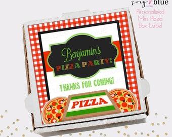Pizza Box Label - Pizza Party Birthday Favor Tag - Mini Pizza Box Sticker Party Favors - Pizzeria Gift Tags - Personalized Digital File