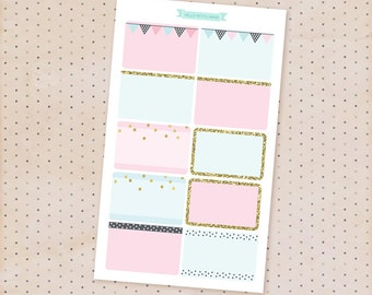 half box stickers - pink, blue and gold glitter party collection / 10 MATTE functional stickers for planners and journals