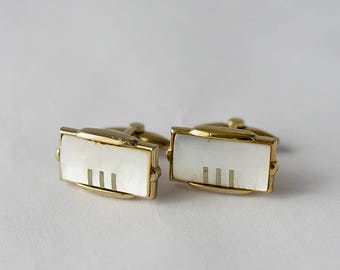 Stratton Vintage Cufflinks - Mother of \pearl and Gold Tone metal - 1970s -  Great gift