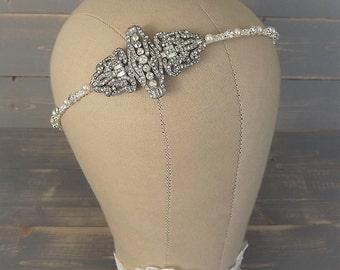 Art Deco Headpiece, Art Deco Bridal Headband, Vintage 1920's Headband, Wedding Headpiece, Rhinestone Headband, Art Deco, Paste, Pearl