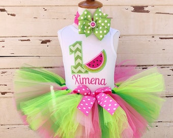 Watermelon Tutu Outfit, 1st Birthday Tutu Set, Pink or Red, Personalized Bodysuit, Sewn Tutu, Headband, Baby Girl Cake Smash, One in a Melon