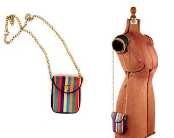 Vintage 1990s Rainbow Stripe Grosgrain Gold Chain Strap Mini Purse Crossbody Small Bag