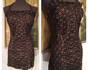 1950s Lace Illusion Swimsuit by Catalina -- Great Larger Size, Curve Hugging Silhouette!