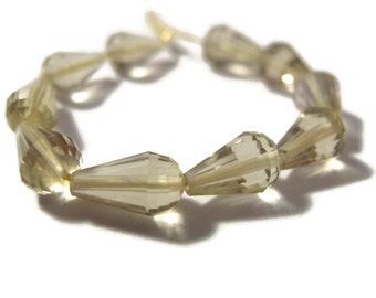 Ten Lemon Quartz Beads, 10 Long Drilled Chandelier Beads, Graduated Briolettes, Light Yellow Gemstones (S-Lq3)