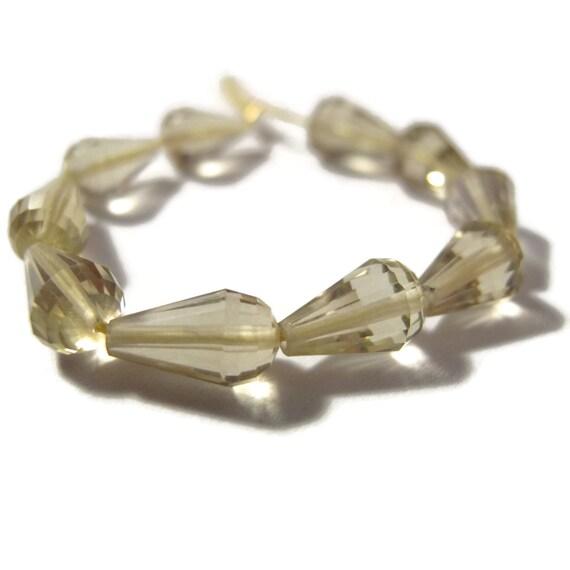 Ten Lemon Quartz Beads, 10 Long Drilled Chandelier Beads, Graduated Briolettes, Light Yellow Gemstones (S-Lq3)