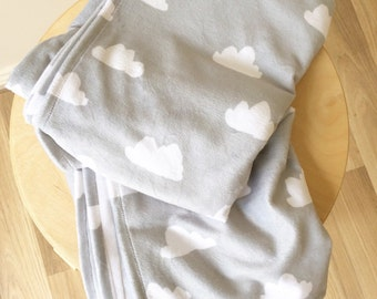 Grey with cloud minky cot blanket. Modern nursery crib blanket.