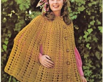 Vintage Cape crochet pattern in PDF instant download version , PDF downloadable
