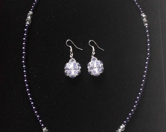 Purple Bead and SWAROVSKI crystals: Pendant Necklace, Woven Bracelet, and Woven Earrings Set