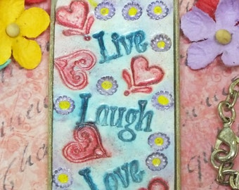 Live Laugh Love Hearts Flowers Pendant Necklace Polymer Clay Jewelry,  Blue Red Yellow Lavender Whimsical Fun Jewelry