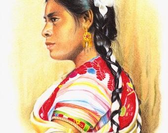 Maya vrouw uit Chiapas, Mexico - Print van mijn originele illustratie - Afmeting papier A4