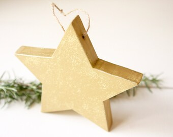 Gold Star ornament • Wooden Star • Gold Star • Star of Wonder • Star Christmas Ornament • Free Shipping