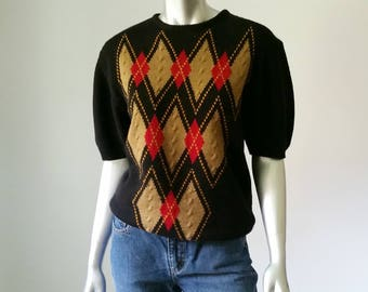 80s Vintage | Argyle Sweater | Relaxed Sweater | 80s Sweater | Oversized Sweater | Slouchy Sweater | Preppy Clothing | Loose Sweater