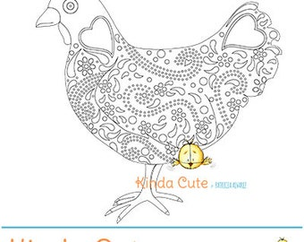 Hen coloring page  (black/white only). Instant download. Chicken coloring page. Gallina para colorear.