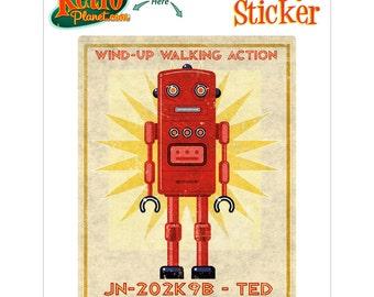 Robot Ted Wind Up Toy Lunastrella Vinyl Sticker - #64411