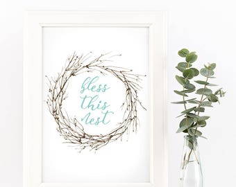 Bless this Nest watercolor wreath ARCHIVAL ART PRINT