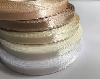 Satin ribbon Wedding decorations 1/4 in White, Ivory, Champagne Gold, Cream ribbon trim Gift wrapping Invitation card trim