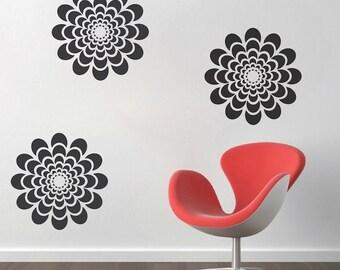Flower Wall Decal, Modern Flower Wall Decal Sticker, Modern Removable Flower Wall Vinyl, Flower Pattern Wall Decal Vinyl Sticker Art, b03