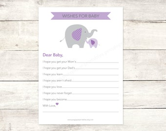 wishes for baby shower printable DIY elephants purple lavender grey cute baby girl digital shower games - INSTANT DOWNLOAD