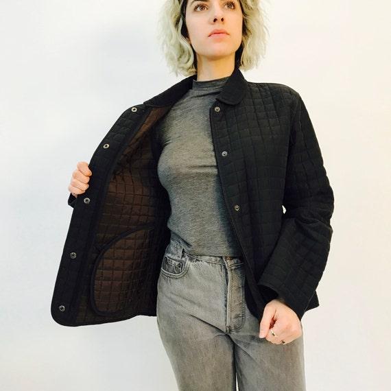 matelass imperm able veste noire vintage des ann es 90. Black Bedroom Furniture Sets. Home Design Ideas