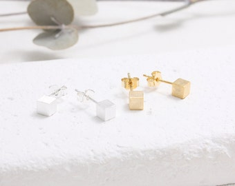 Brushed Texture Small Cube Stud Earrings