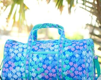 Personalized Girls Duffel Bag, Monogrammed Shells Travel Bag, Personalized Overnight Bag, Personalized Dance or Gym Bag, Girls Weekender Bag