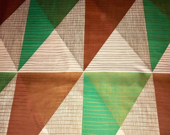 Vintage MCM Mid Century Abstract Upholstery Drapery Fabric Yardage Mint Green Copper Brown Gold By The Yard