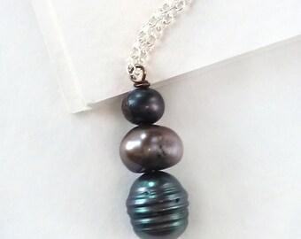 Triple Black Pearl Drop Pendant Necklace