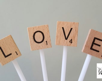 Love Scrabble Cupcake or Cake toppers