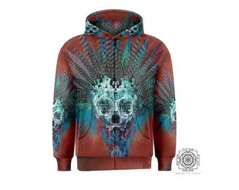 Ancient Spirit Hoodie / festival clothes /  Full Dye Sublimation / Sacred geometry / Visionary Hoodie / Festival hoodie / skull