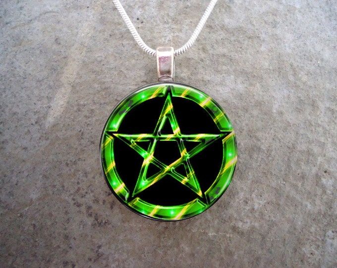 Wiccan Pentacle Jewelry - Glass Pendant Necklace - Black and Green