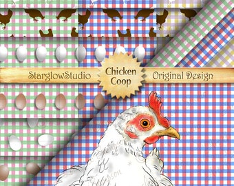 24 Gingham Digital Papers with Eggs, Hen, Chicken Silhouettes, Crafting Supply